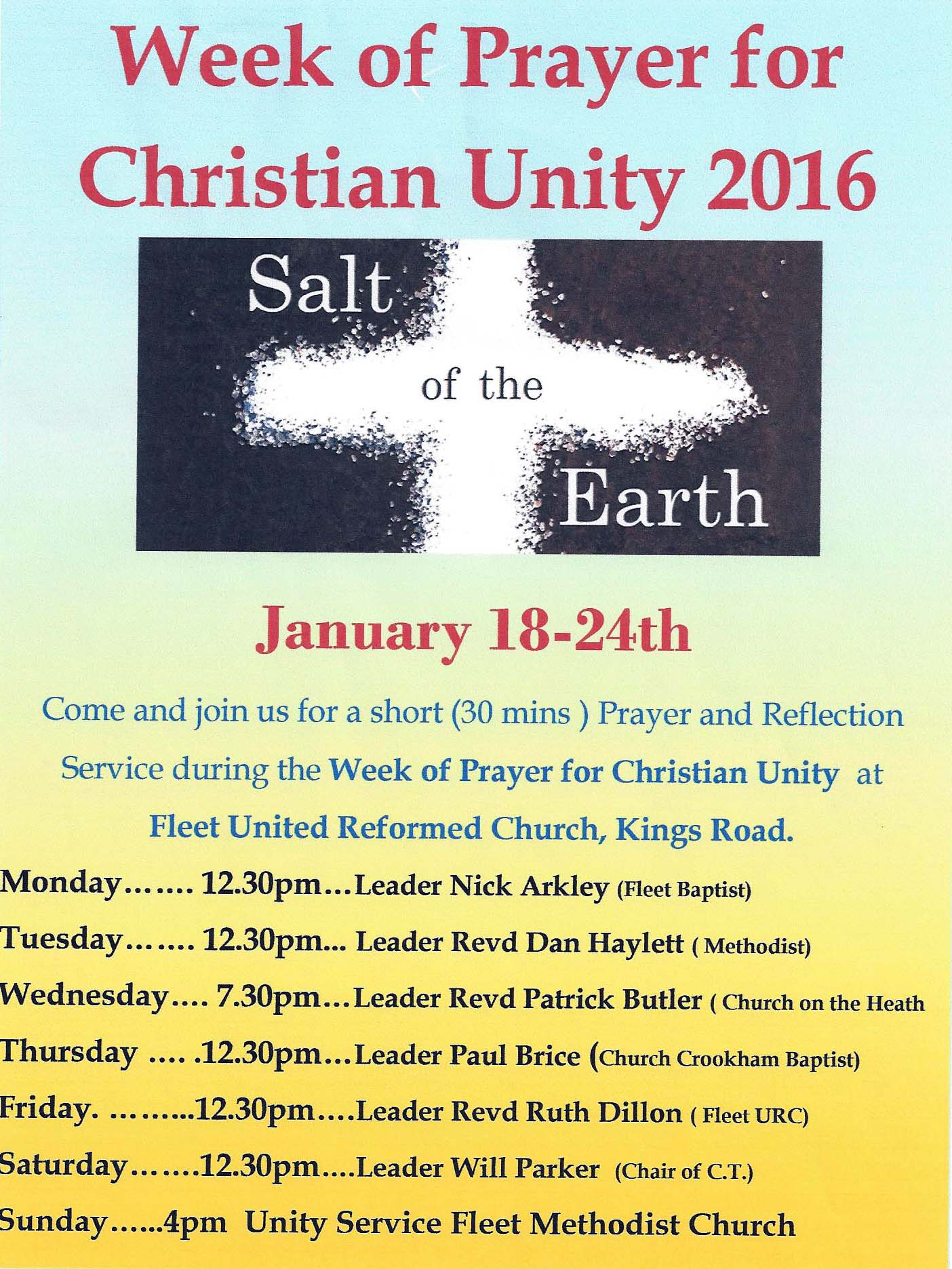 Week of Prayer for Chr Unity Salt of the Earth 2016 1